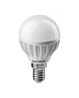 Светодиодная лампа 6Вт шар 4000К белый E14 470лм 176-264В ОНЛАЙТ